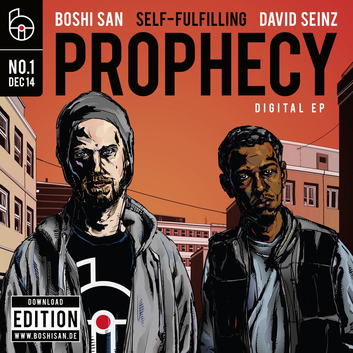 """Cover-Illustration für die Digital-EP """"Self-Fulfilling Prophecy"""" von Boshi San und David Seinz"""